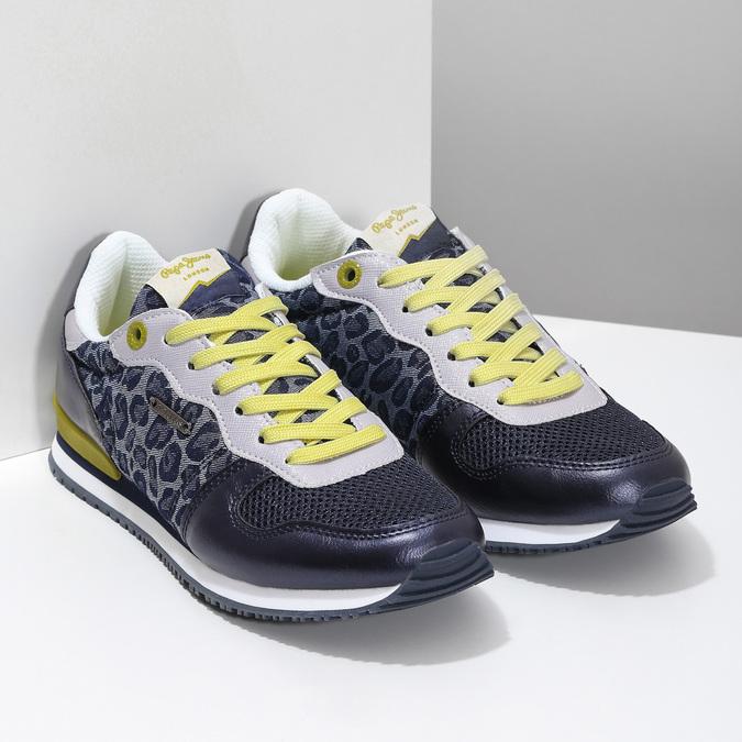 Dámské tenisky se žlutými detaily a vzorem pepe-jeans, modrá, 549-9024 - 26
