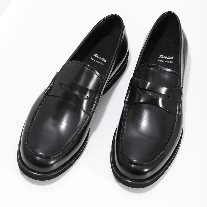 Pánské kožené mokasíny černé bata, černá, 814-6177 - 16