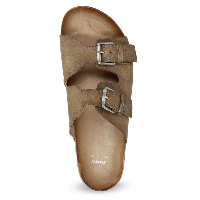 Pánské kožené nazouváky bata, hnědá, 866-4648 - 17