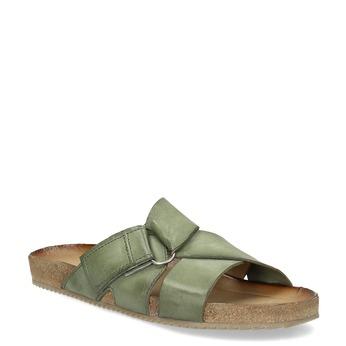 Khaki kožené nazouváky bata, khaki, 866-7647 - 13