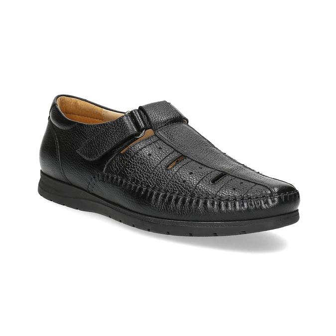 Kožené pánské sandály s pohodlnou podešví černé comfit, černá, 854-6602 - 13