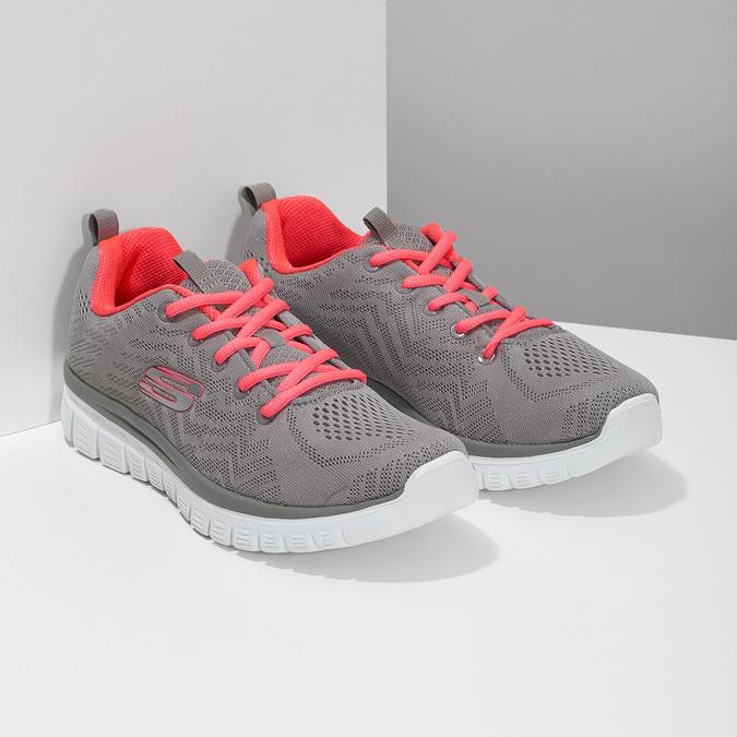 Sportovní růžovo-šedé tenisky dámské skechers, šedá, 509-2418 - 26