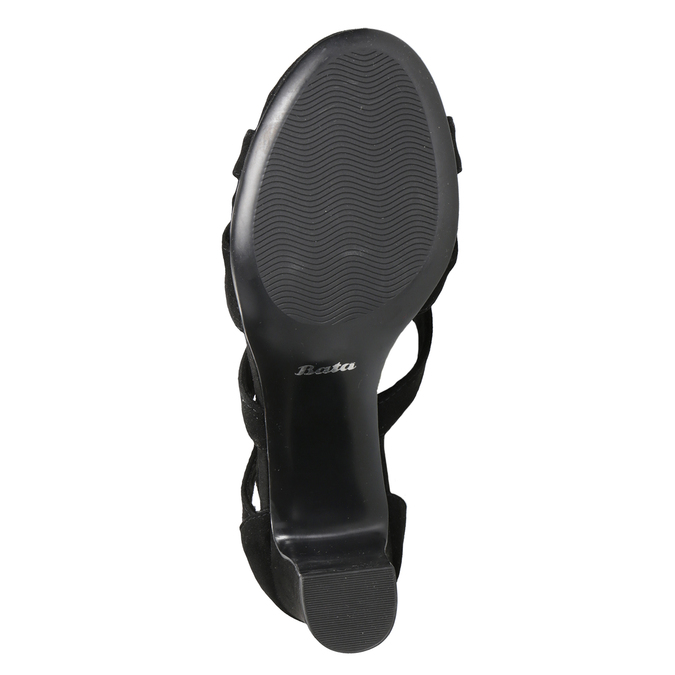 Černé sandály na stabilním podpatku insolia, černá, 769-6617 - 19