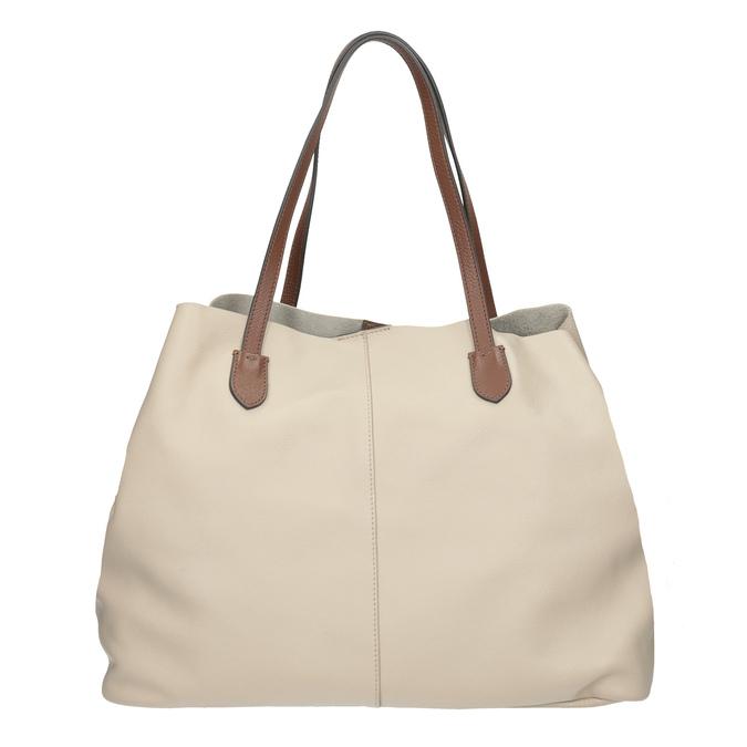 Béžová kožená kabelka s hnědými uchy bata, béžová, 964-8293 - 26