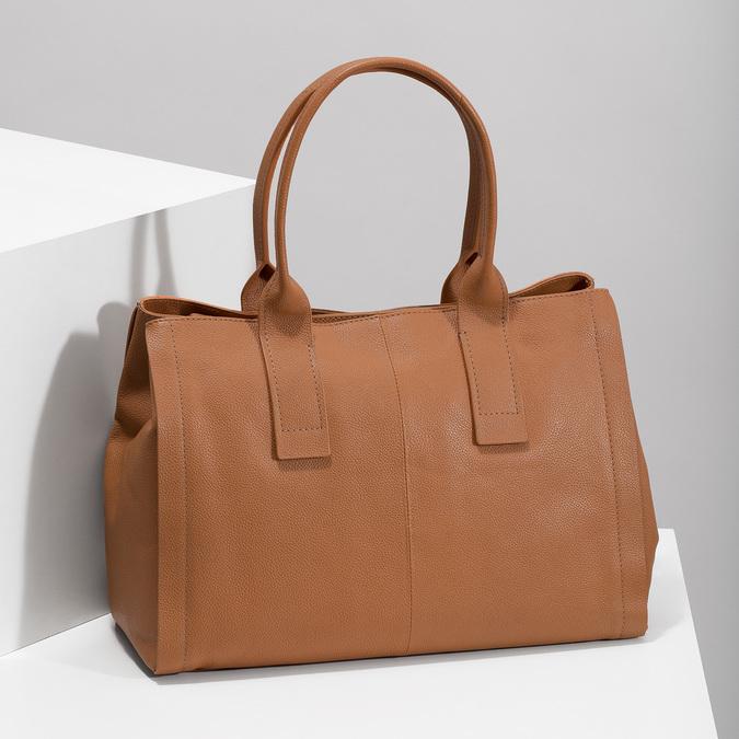 Světle hnědá kožená kabelka bata, hnědá, 964-3298 - 17