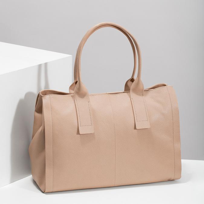 Světle béžová kožená kabelka bata, béžová, 964-8298 - 17