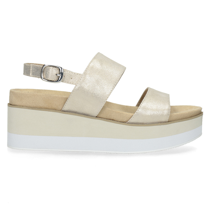 Béžové metalické sandály na flatformě bata, zlatá, 761-8632 - 19
