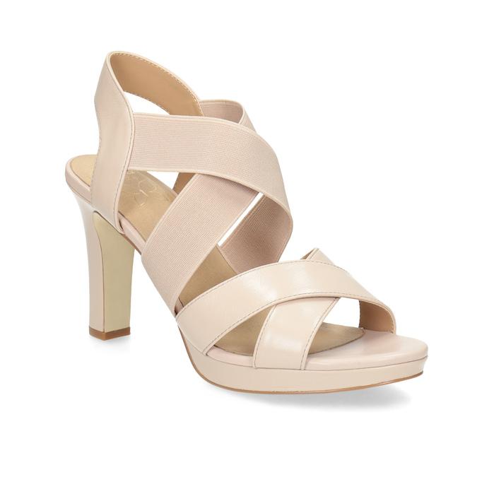 9f17814a245ec Béžové kožené sandály na stabilním podpatku insolia, béžová, 766-8606 - 13