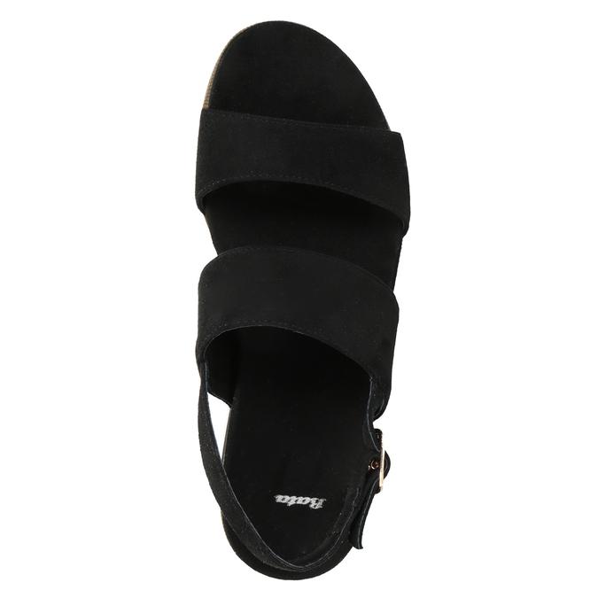 Černo-bílé sandály na flatformě bata, černá, 769-6631 - 17