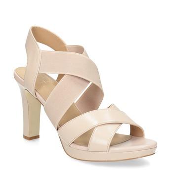 Béžové kožené sandály na stabilním podpatku insolia, béžová, 766-8606 - 13