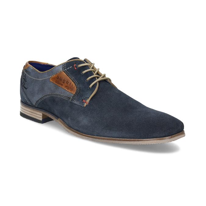Tmavě modré kožené derby polobotky bugatti, modrá, 823-9016 - 13