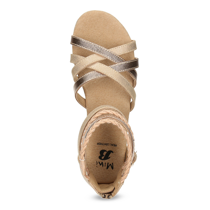 Zlaté dívčí sandály s pletením mini-b, zlatá, 361-8605 - 17