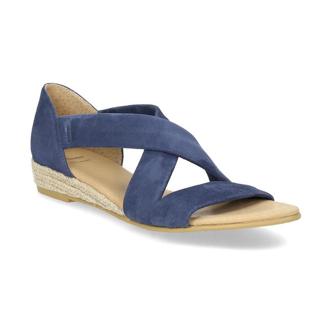 Kožené sandály na klínku modré bata, modrá, 563-9600 - 13