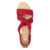 Červené kožené sandály na klínku bata, červená, 563-5600 - 17