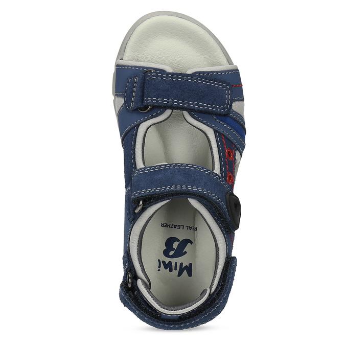 Dětské kožené sandály modré mini-b, 263-9605 - 17