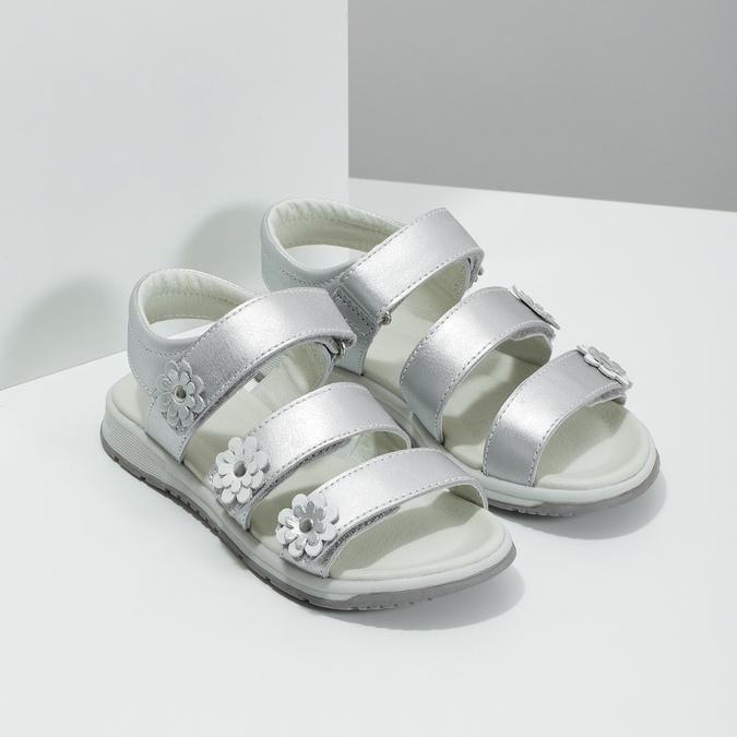 Stříbrné dívčí sandály mini-b, 364-1601 - 26