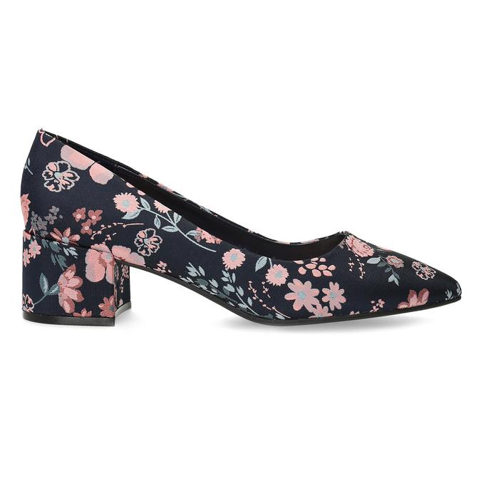 Květinové lodičky na nízkém podpatku bata-red-label, modrá, 629-5640 - 19