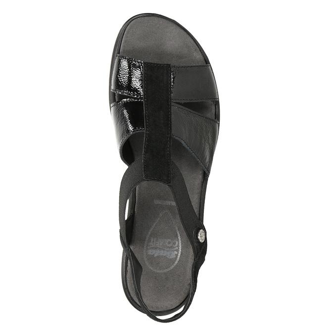 Černé kožené sandály na klínovém podpatku comfit, černá, 666-6620 - 17
