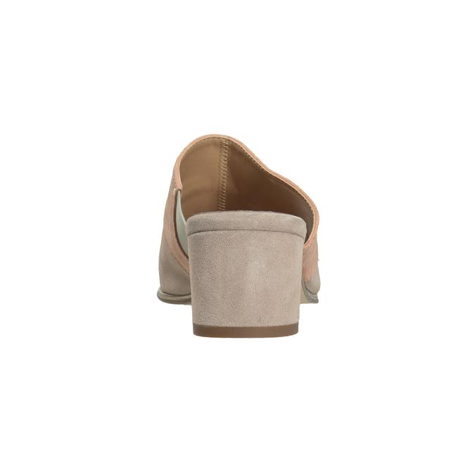 Kožené nazouváky na podpatku růžové bata, růžová, 666-8625 - 15