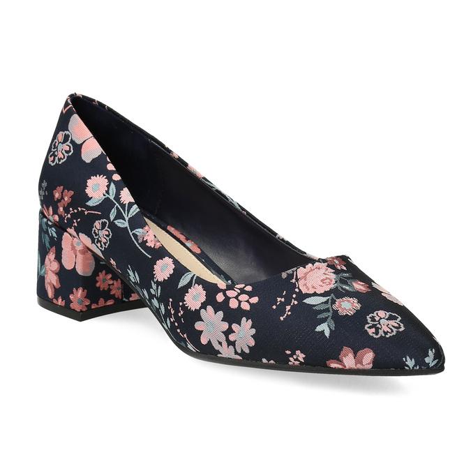 Květinové lodičky na nízkém podpatku bata-red-label, modrá, 629-5640 - 13