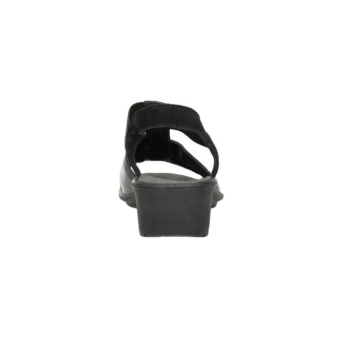Černé kožené sandály na klínovém podpatku comfit, černá, 666-6620 - 15
