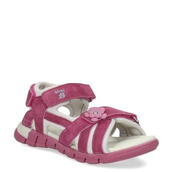 Růžové dívčí sandály s kytičkou mini-b, 263-5604 - 13