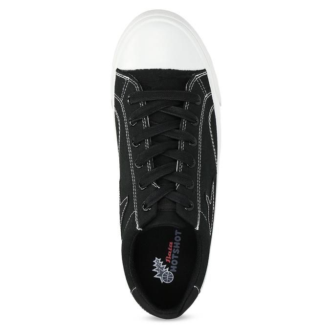Černé pánské tenisky s bílým prošitím bata-hotshot, černá, 889-6245 - 17