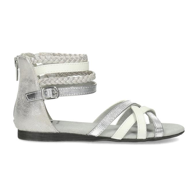 Bílo-stříbrné dívčí sandály mini-b, stříbrná, 361-1605 - 19
