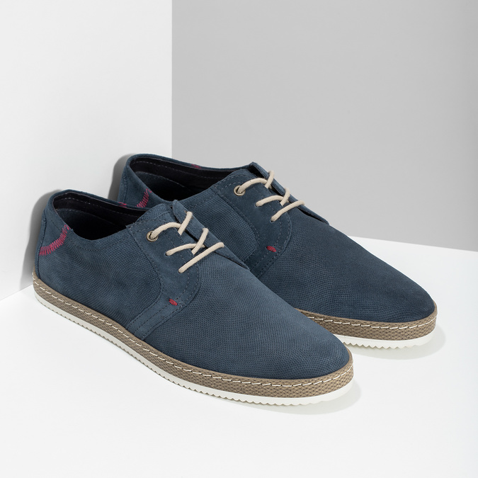 Tmavě modré kožené tenisky s perforací bata, modrá, 823-9617 - 26