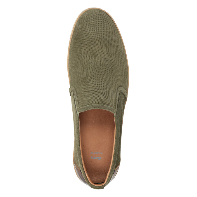 Pánské Slip-on z broušené khaki kůže bata, zelená, 833-7602 - 15