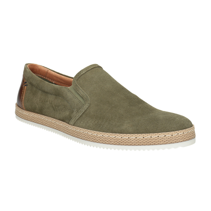 Pánské Slip-on z broušené khaki kůže bata, zelená, 833-7602 - 13