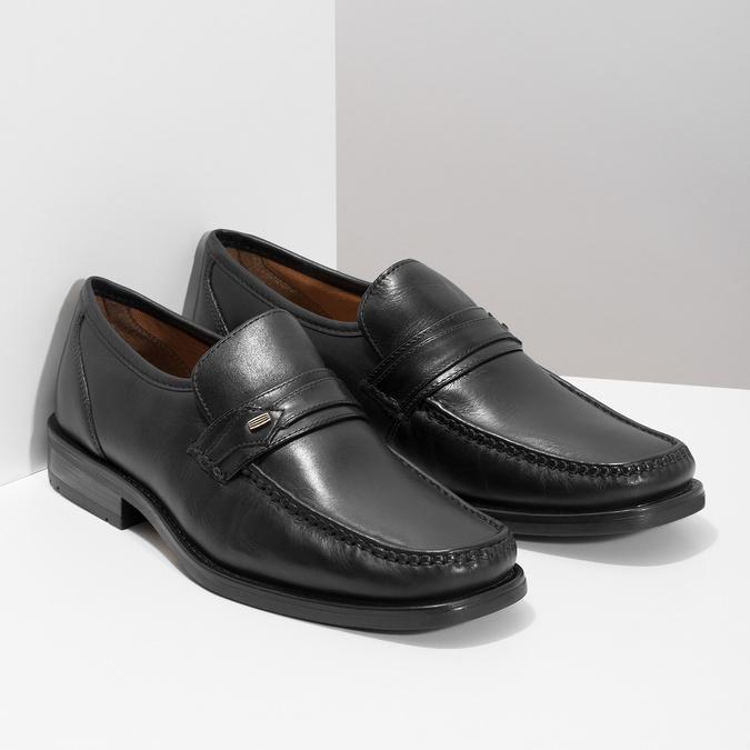 Černé kožené pánské mokasíny bata, černá, 814-6625 - 13