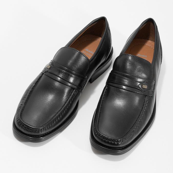 Černé kožené pánské mokasíny bata, černá, 814-6625 - 16