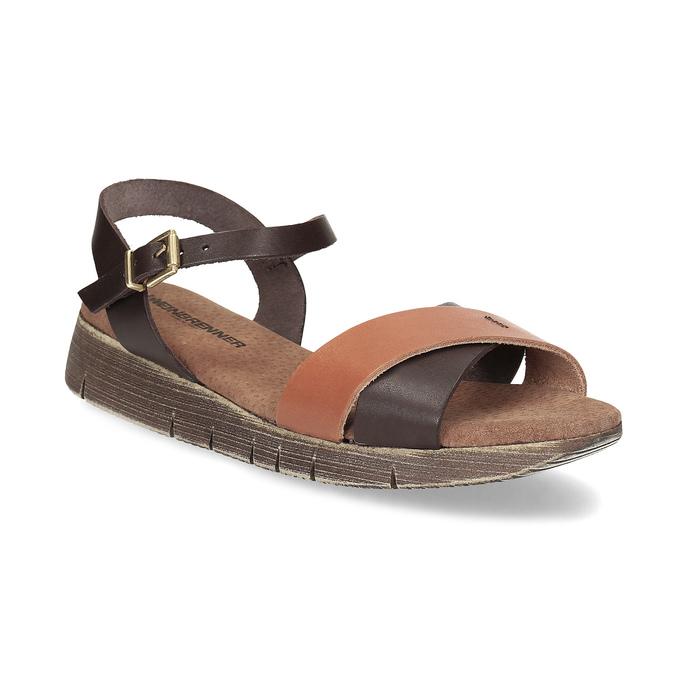 Dámské hnědé kožené sandály weinbrenner, hnědá, 566-4642 - 13