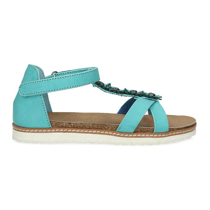 Tyrkysové dívčí sandály mini-b, tyrkysová, 361-9614 - 19