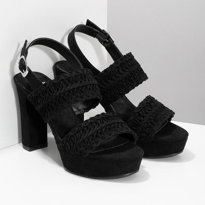 Černé dámské sandály na podpatku s propletením bata, černá, 769-6634 - 26