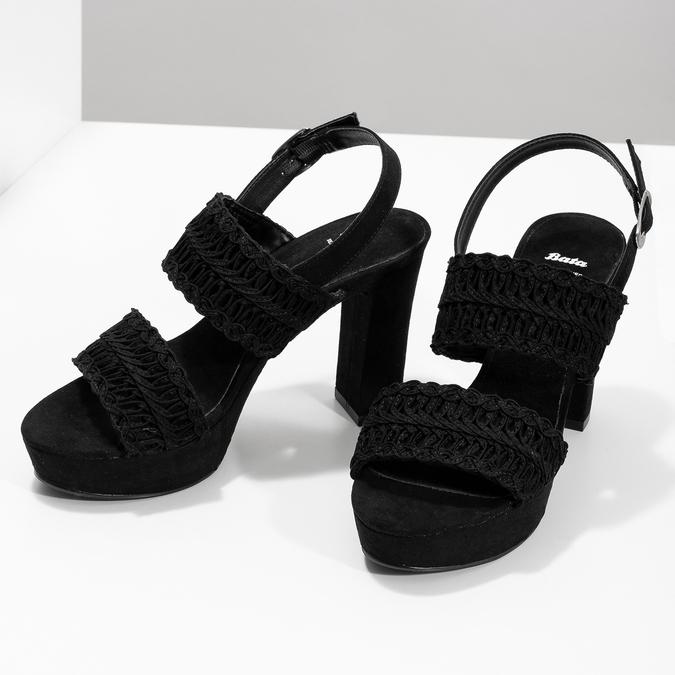 Černé dámské sandály na podpatku s propletením bata, černá, 769-6634 - 16