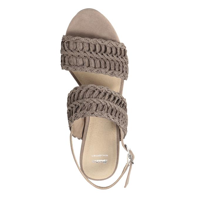 Dámské sandály na stabilním podpatku s proplétáním bata, hnědá, 769-3634 - 15