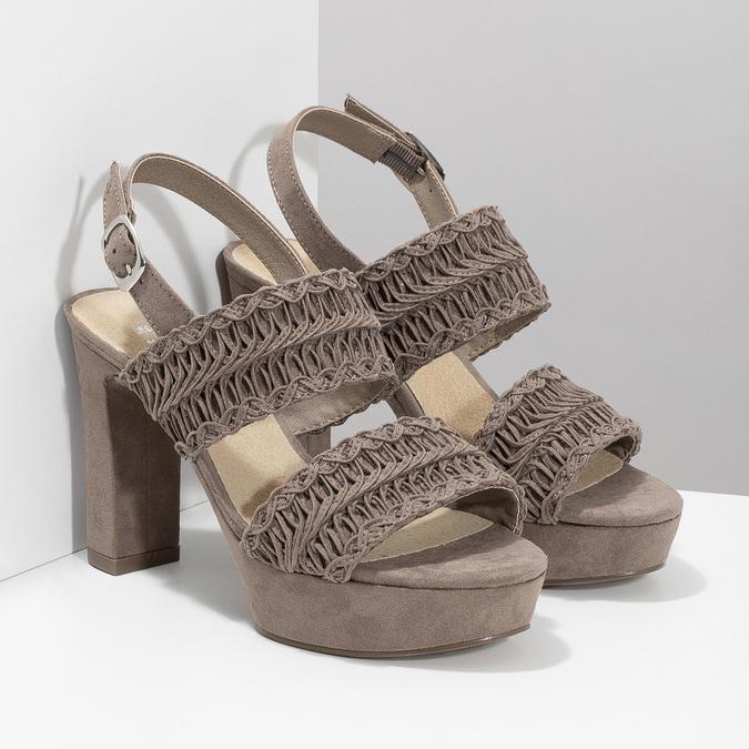 Dámské sandály na stabilním podpatku s proplétáním bata, hnědá, 769-3634 - 26