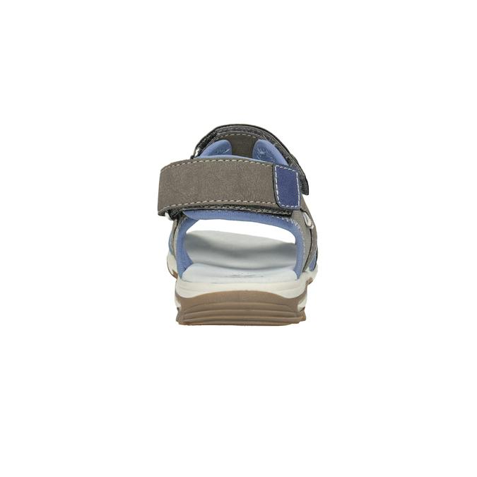 Chlapecké sandály na suchý zip šedo-modré mini-b, hnědá, 261-3608 - 15