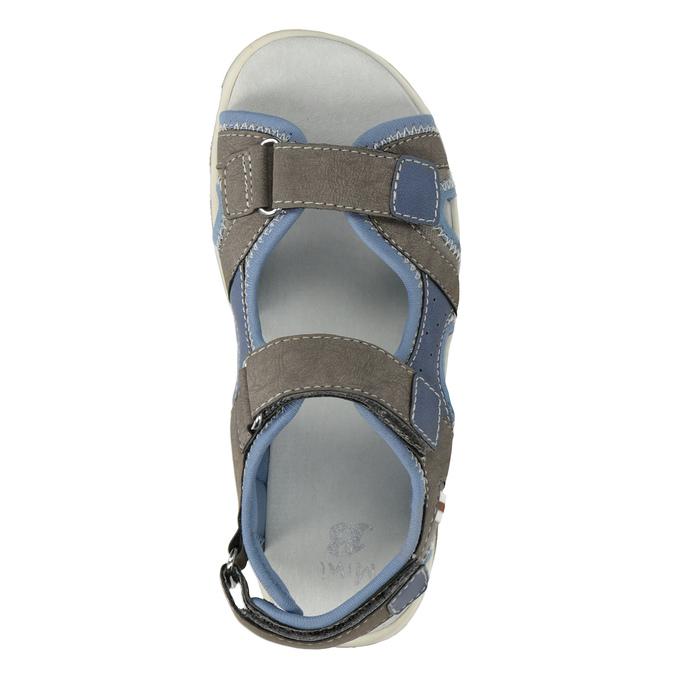 Chlapecké sandály na suchý zip šedo-modré mini-b, hnědá, 261-3608 - 17