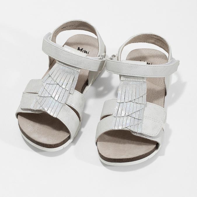 Stříbrné dívčí sandály mini-b, stříbrná, 261-1612 - 16