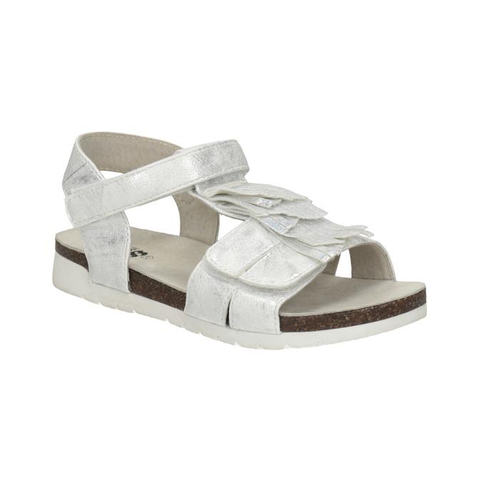 Stříbrné dívčí sandály mini-b, stříbrná, 261-1612 - 13