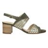 Kožené sandály na stabilním podpatku šíře G gabor, khaki, 766-7035 - 26