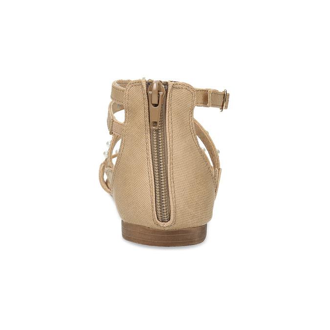 Dívčí sandály s perličkami bullboxer, béžová, 361-8609 - 15