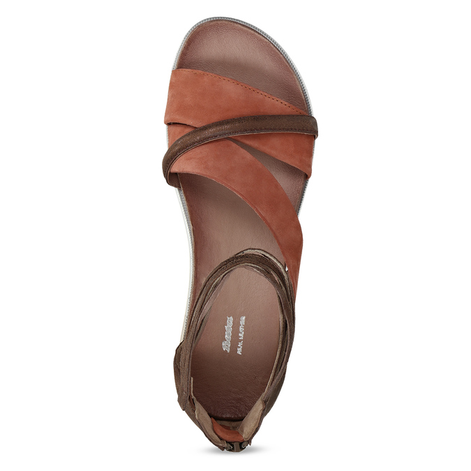 Kožené sandály s plnou patou bata, oranžová, 566-5646 - 17