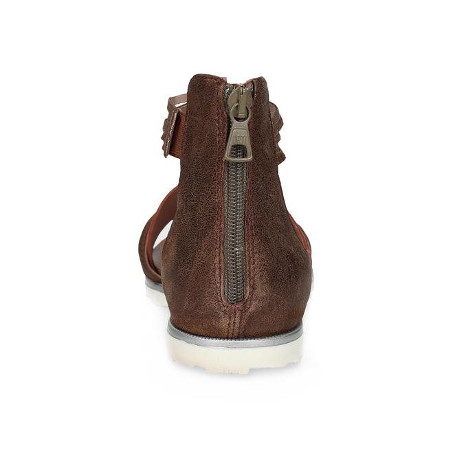 Kožené sandály s plnou patou bata, oranžová, 566-5646 - 15