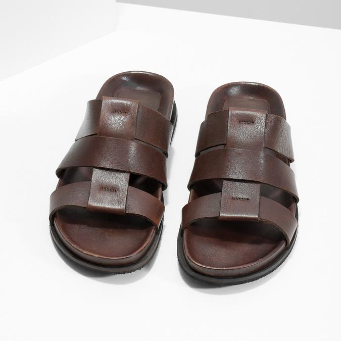 Hnědé pánské minimalistické kožené nazouváky bata, hnědá, 866-4639 - 16