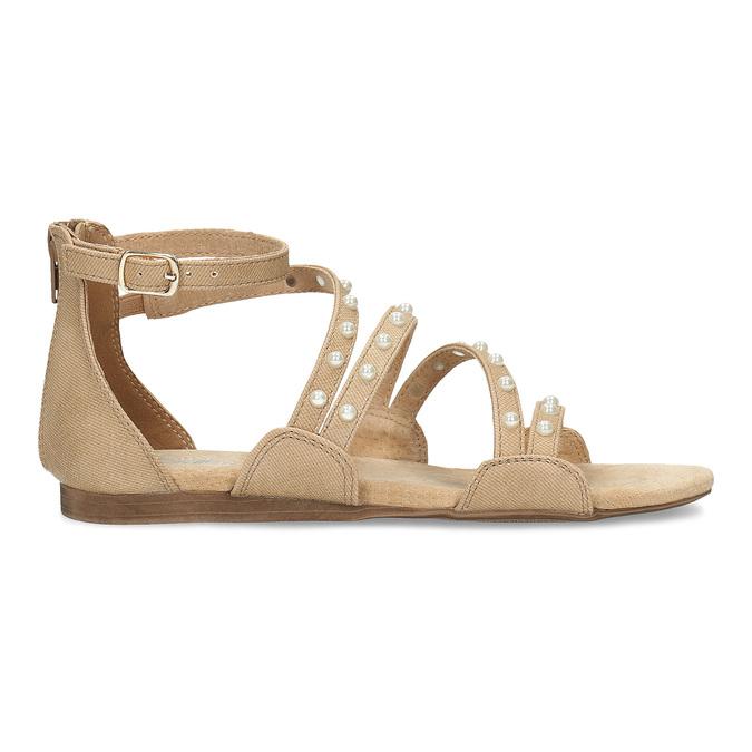 Dívčí sandály s perličkami bullboxer, béžová, 361-8609 - 19