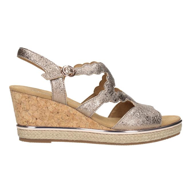 Kožené zlaté sandály na platformě gabor, zlatá, 766-8043 - 26